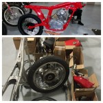 Motorcycle in process of being built from the frame