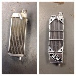 Motorcycle radiator before and after being modified
