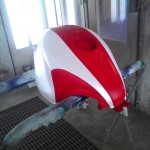 Motorcycle gas tank in paint shop