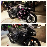 Street bike before and after being custom painted with pink stars
