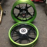 Motorcycle wheels powder coated green and black