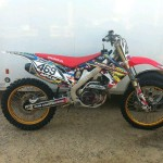 Custom motocross bike with modified engine and suspension
