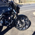 Chrome plated wheels on motorcycle